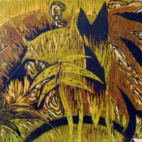 Viidakossa/ In the Jungle, puupiirros/ woodcut, 55x70 cm, 1992