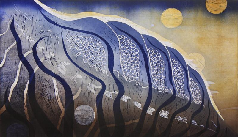 Ei enää muureja/ No more Walls, kohopaino/ relief print, 50x85cm, 2014
