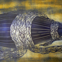 Lentohiekkaa/Drift sand, kohopaino/ relief print, 61x81cm, 2007
