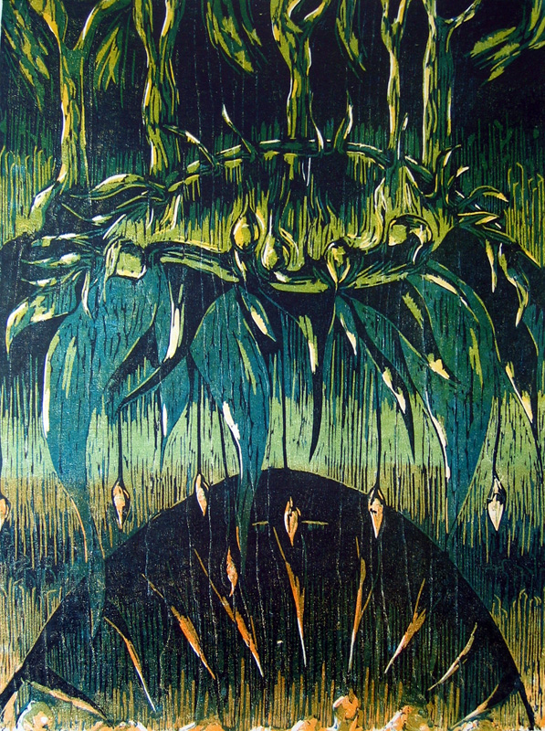 Uhka/ Threat, puupiirros/ woodcut, 78×58 cm, 1993