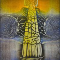 Majakka/ Lighthouse, kohopaino/ relief print, 44x38cm, 2014