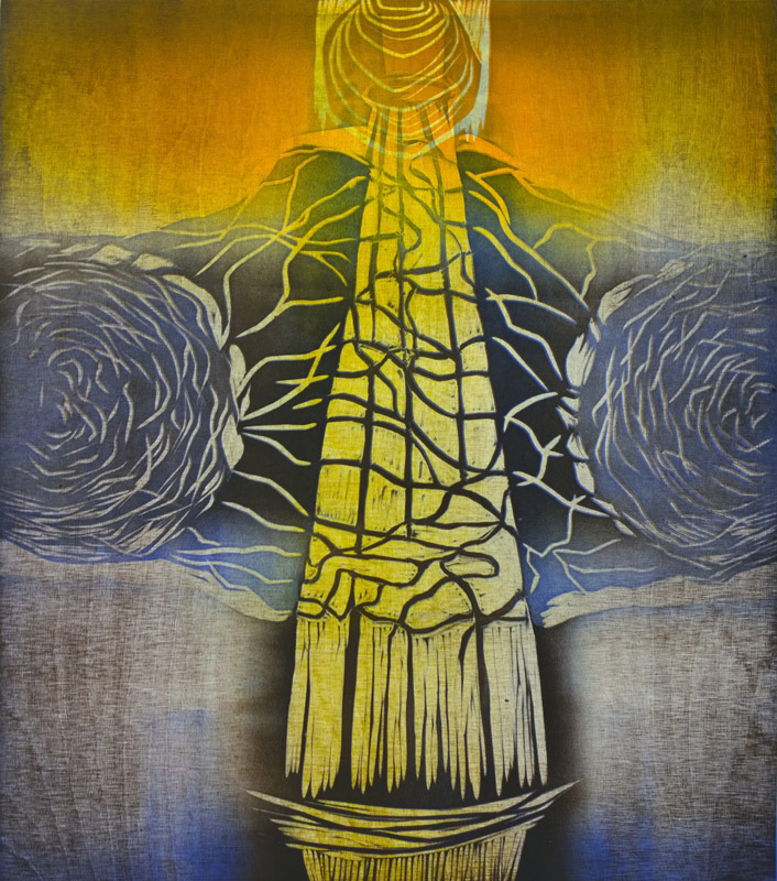 Majakka/ Lighthouse, kohopaino/ relief print, 44x38cm, 2014