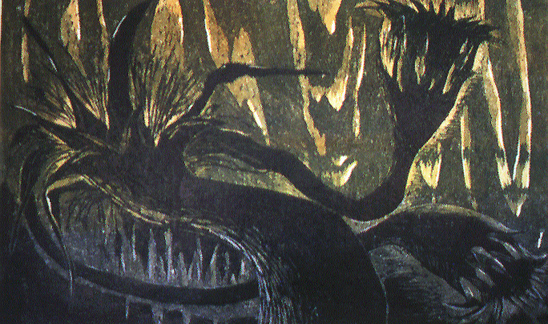 Rajalla/On the Border, puupiirros/woodcut, 64x80cm, 1997