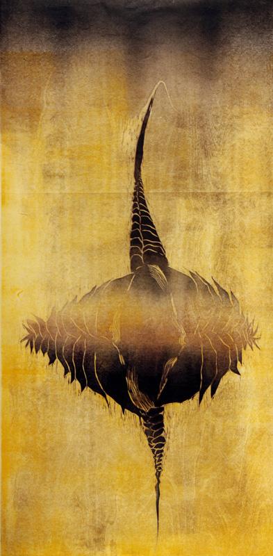 Runsaasti aikaa/ Plenty of Time, kohopaino/ relief print, 123 x 60cm, 2010