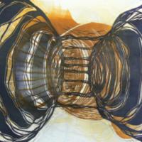 Planeetat/ Planets, kohopaino/relief print, 31x38cm, 2008