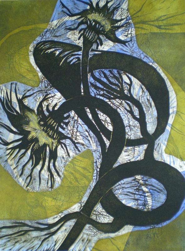 Sarjasta Kasvioppia/ From the Series Botany, koho-, syväpaino/ relief print, intaglio, 50x37cm, 2007