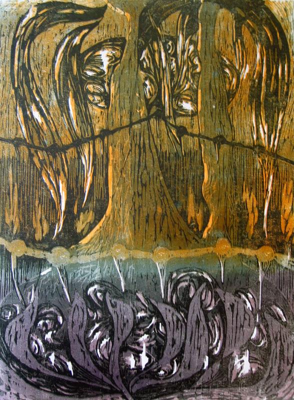 Suihkulähde/ Fountain, puupiirros/ woodcut, 78x58cm, 1993