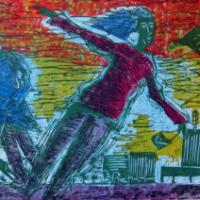 Sörnäisissä tuulee/ It blows in Sörnäinen, lino/ linocut, 49x68cm, 1990