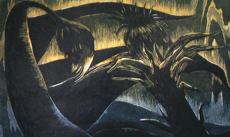Talvisella joella/By the Winter River,  puupiirros/woodcut, 64x80cm, 1997