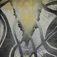 Hehkuva voima/Glowing Force, kohopaino/ relief print, 44x38cm, 2016