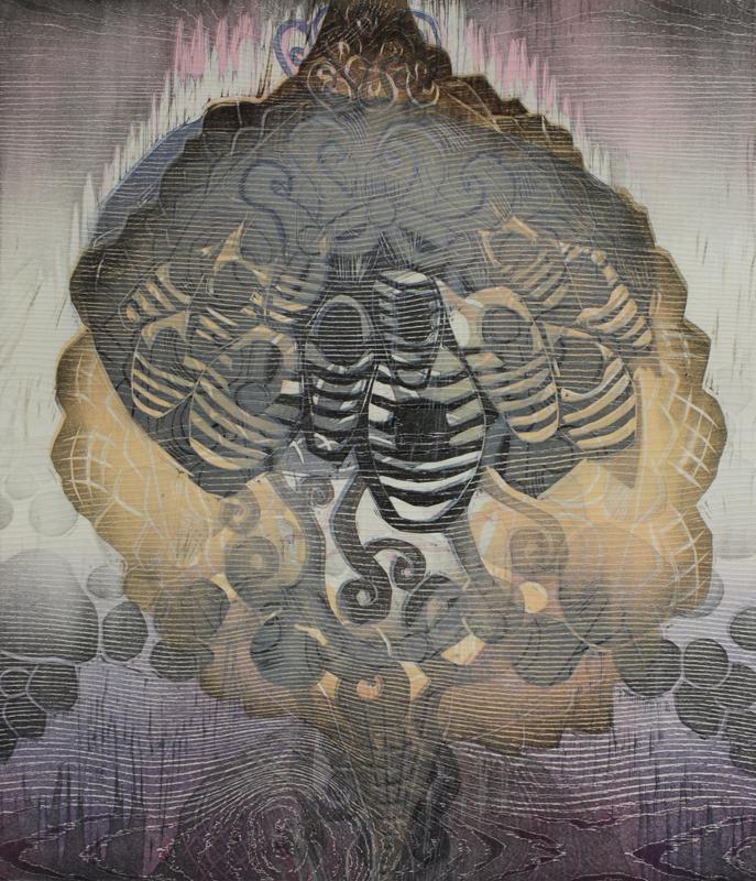 Huvipuisto/Amusement Park, kohopaino/relief print, 44x38 cm, 2016
