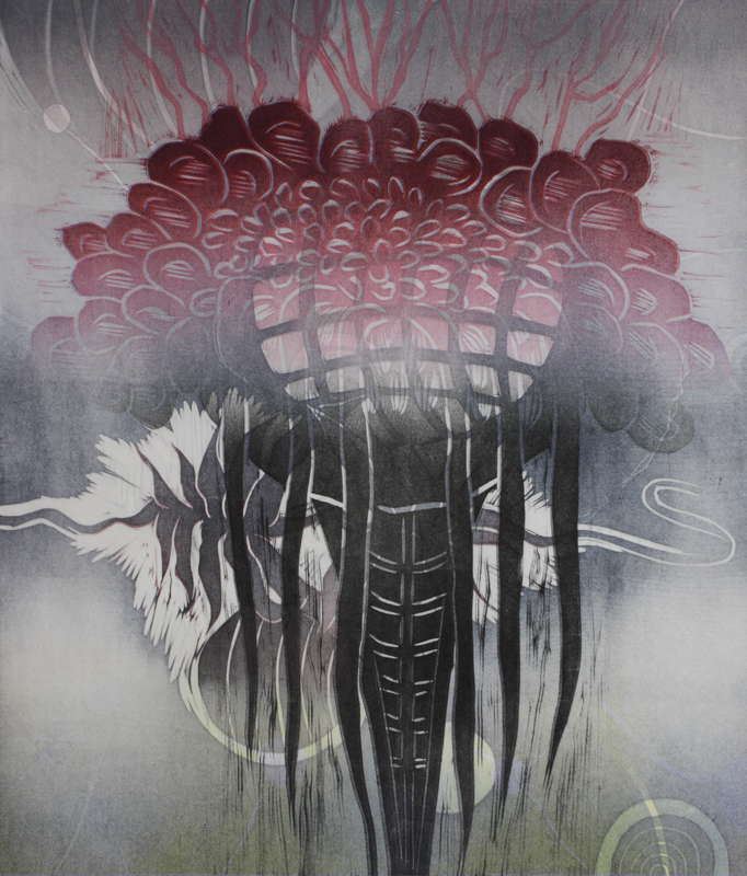 Kahleet/Chains, kohopaino/ relief print, 44x38cm, 2016