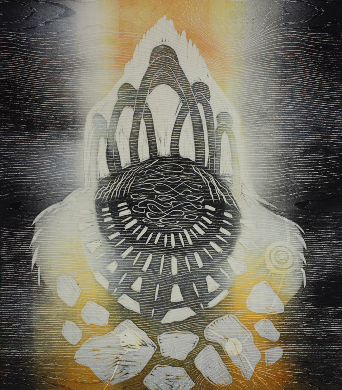 Mennyt aika/The Past, kohopaino/ relief print, 44x38cm, 2016