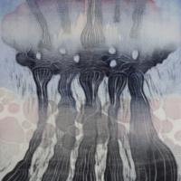 Rankkasade/Rainstorm, kohopaino/ relief print, 44x38cm, 2016