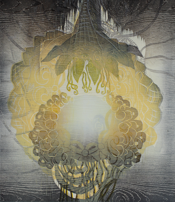 Valkeus/ Brightness, kohopaino/ relief print, 44x38cm, 2016