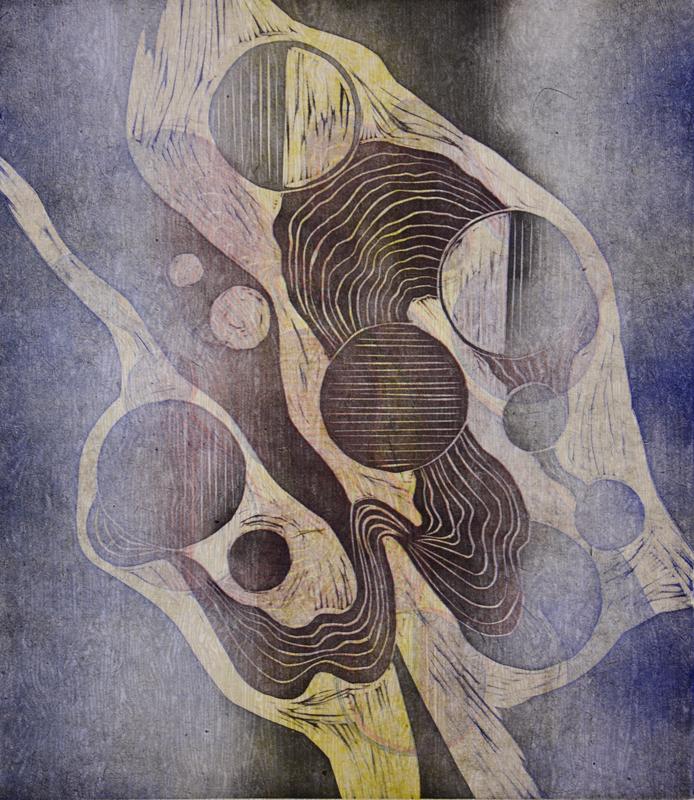 Järjestys kaaoksessa/Order in Chaos 2017, kohopaino/relief print 44x38cm