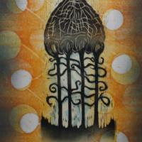 Ajan haalistuttama/Fading with Time 2020, kohopaino/relief print, 44x38cm