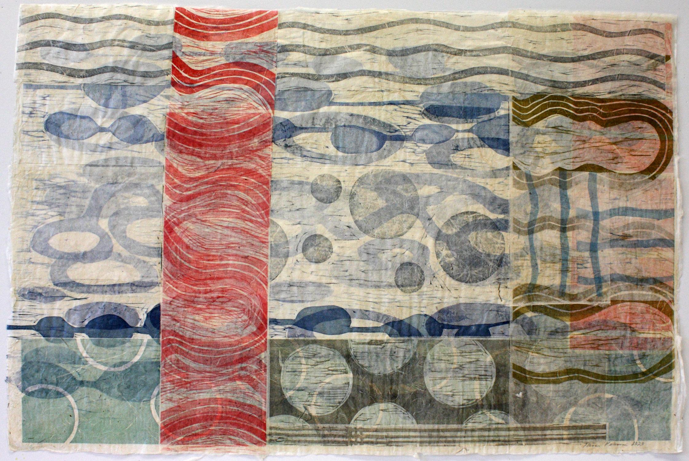 Asiat aaltoilee 1/Things Waving 1, 2020, puupiirroskollaasi/woodcut collage, 51x77cm