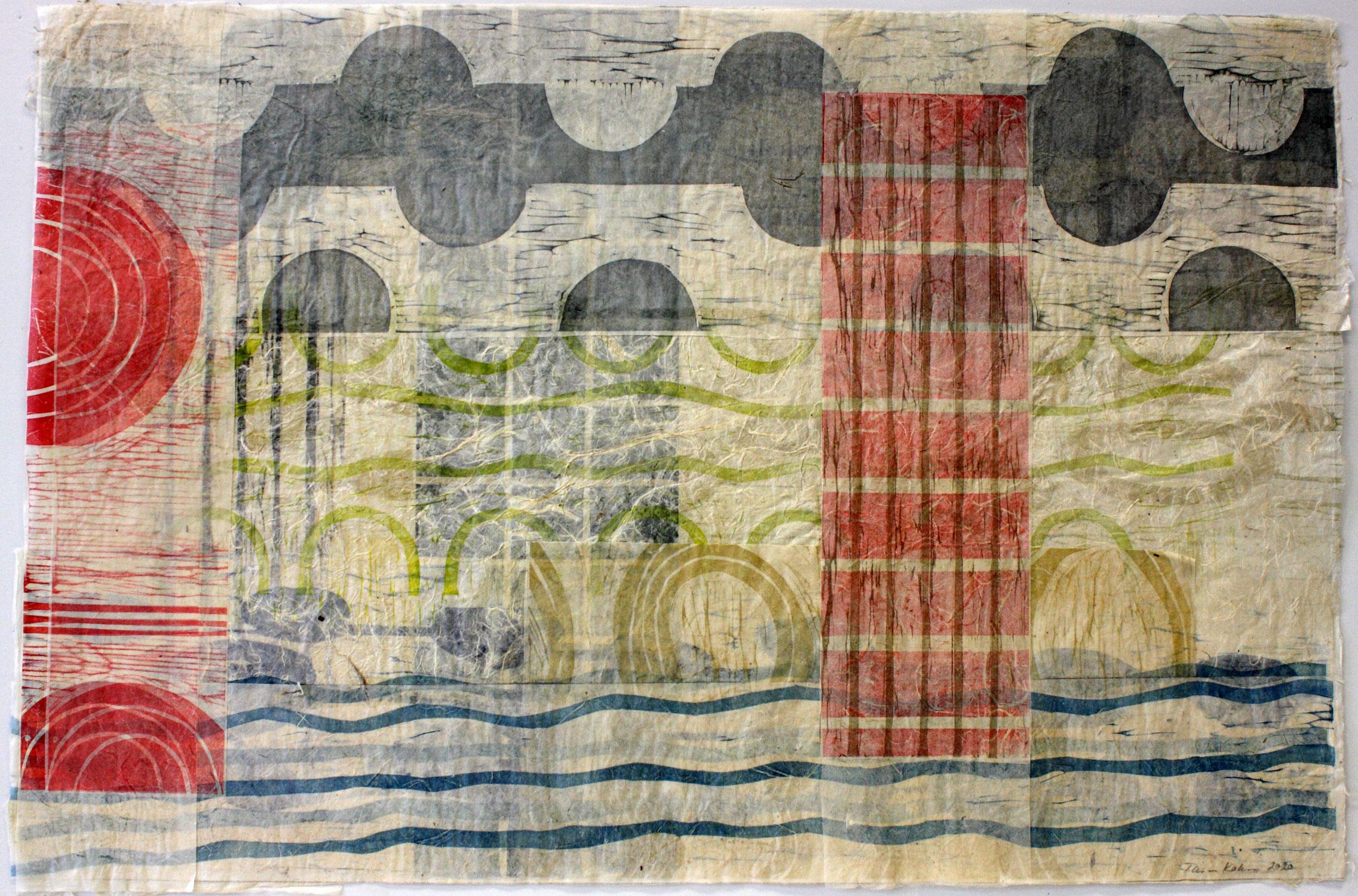 Asiat aaltoilee 3/Things Waving 3, 2020, puupiirroskollaasi/woodcut collage, 51x77cm