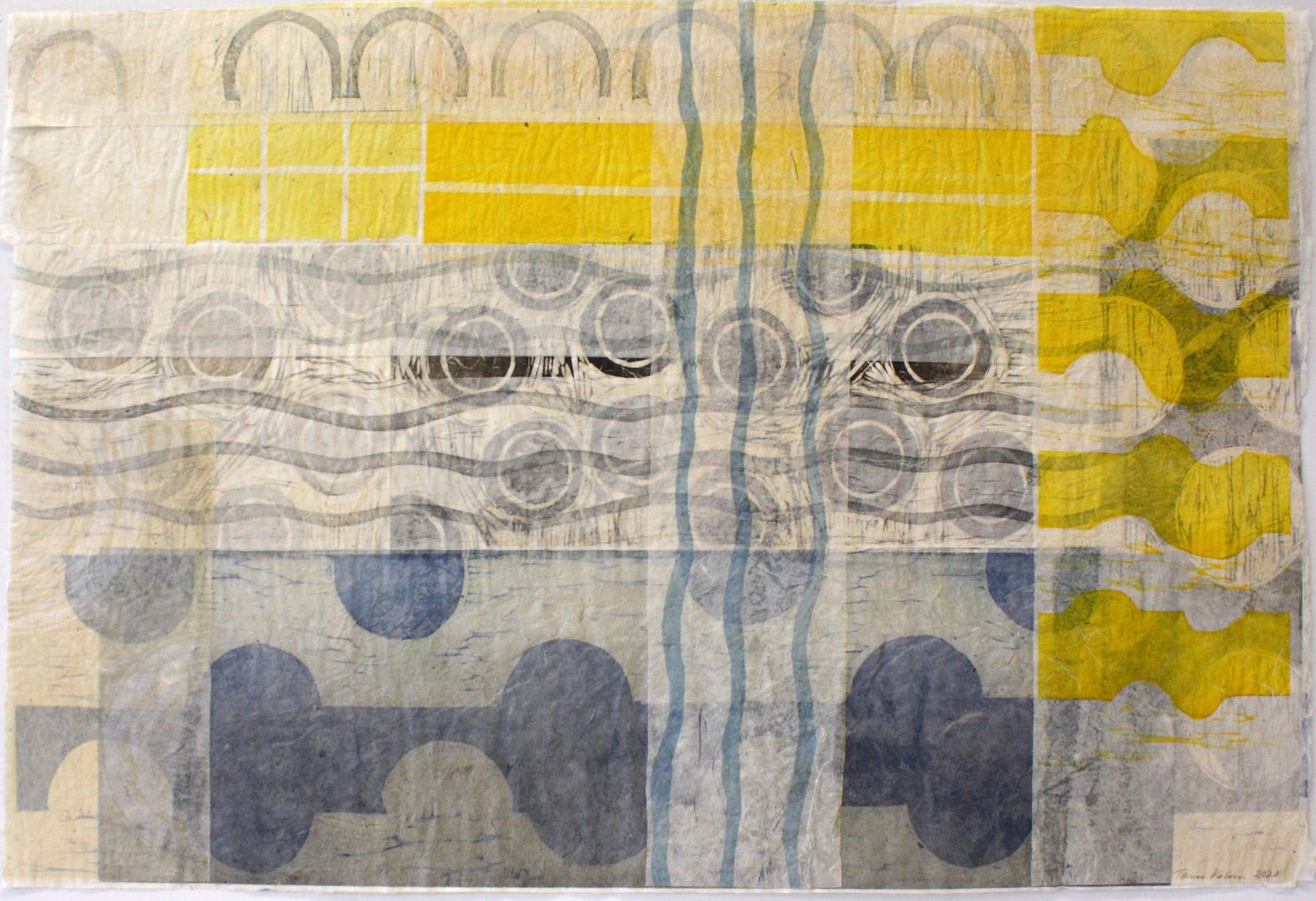 Asiat aaltoilee 4/Things Waving 4, 2020, puupiirroskollaasi/woodcut collage, 51x77cm