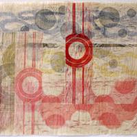 Asiat aaltoilee 5/Things Waving 5, 2020, puupiirroskollaasi/woodcut collage, 51x77cm