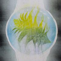 Bubble 2019, kohopaino/relief print, 44x38cm