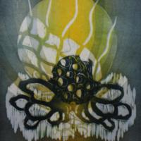 Kuutamo/Moonlight 2020, kohopaino/relief print, 44x38cm