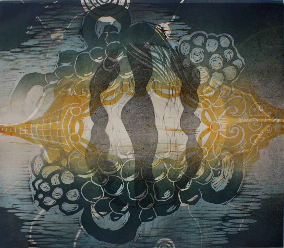 Reading Poems I 2019, kohopaino/relief print, 38x43cm