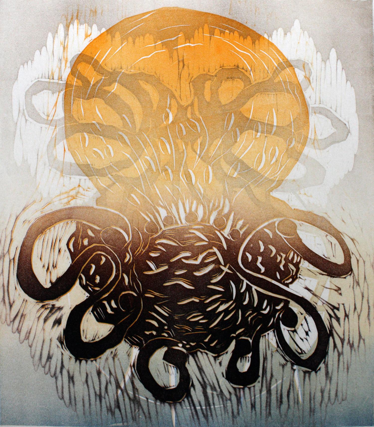 Rise 2020, kohopaino/relief print, 44x38cm